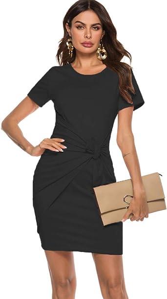 Women Twist Bodycon Dress Ladies Summer Short Sleeve V Neck Sheath Mini Dress