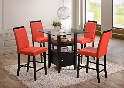 Kings Brand 5-Piece Counter Height Dining Set, Table & 4 Chairs (Red)