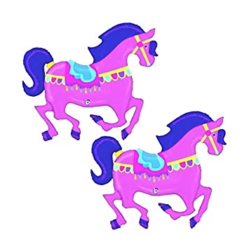 Set of 2 Pink Carousel Horse Jumbo 48 Foil Party Balloons