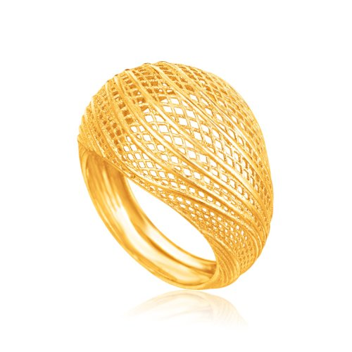 14k Gold Lattice - Italian Design 14K Yellow Gold Lattice Ring