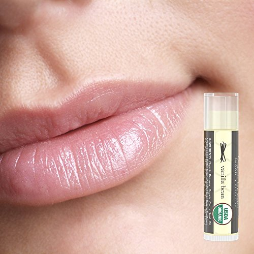 Lip Balm Organic Vanilla Bean and Honey Flavor; Pure and Natural Beeswax Lush Lip Butter with Aloe Vera, Vitamin E for a Clear Gloss Finish; Moisturize, Repair Dry Chapped Lips; 4 tubes in pack