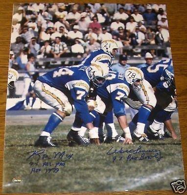 Autographed Ron Mix Photograph - Walt Sweeney AFL 16x20 COA - PSA/DNA Certified - Autographed NFL Photos