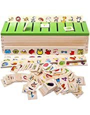 Montessori Educational Wooden Game Recognition Toy Animal Fruit Knowledge Classification Learning Box Cognitive Education Children Early Education Toys Baby Kids Early Learning Math Toys