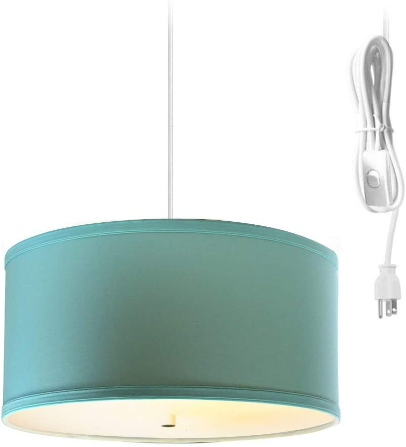 2 Light Swag Plug-in Pendant 14 w Island Paridise Blue with Diffuser, White Cord