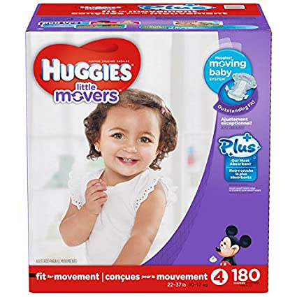 Huggies Little Movers Plus 4 - Pañales de la talla 4, 180 unidades