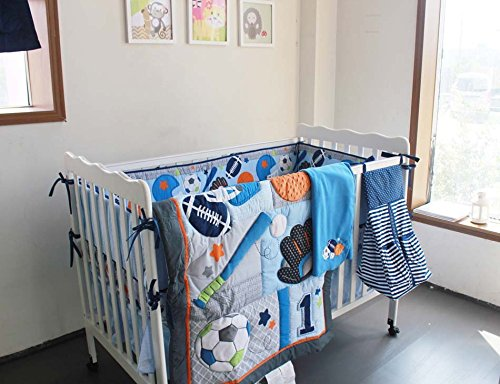 NAUGHTYBOSS Baby Bedding Set Cotton 3D Embroidery Ball Sport Quilt Bumper Bedskirt Mattress Cover Diaper Bag Window Curtain Blanket 10 Pieces Set Blue by NAUGHTYBOSS (Image #1)