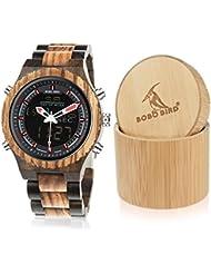 BOBO BIRD Wooden Watches Dual Display Quartz Watch for Men LED Digital Army Military Sport Wristwatch (Zebra Wood)