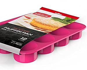 Valley of SiliconeTM 12-Cup Muffin Pan - 100% Non-Stick, Easy-to-Clean Silicone