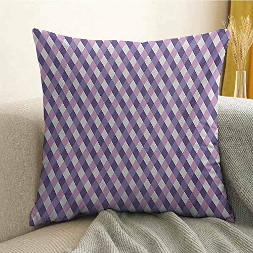 (FreeKite Mauve Silky Pillowcase Geometric Crossed Pattern with Mirroring Mosaic Rhombus Diamond Stripe Shapes Print Super Soft and Luxurious Pillowcase W18 x L18 Inch Mauve Lilac)