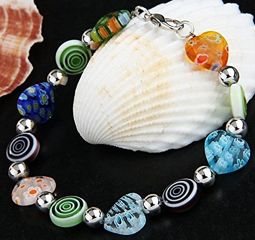 Murano Chain Bracelet - Ecloud Shop Spiral Heart Millefiori Murano Lampwork Chain Bracelet