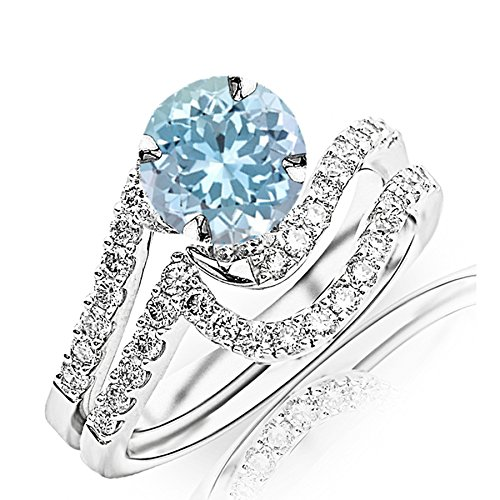 1.27 Carat t.w 14K White Gold Curving Pave & Prong-Set Round Diamond Engagement Ring and Wedding Band Set w/a 1 Carat Round Cut Blue Aquamarine Heirloom Quality