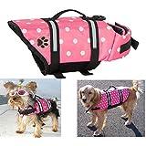 EXPAWLORER Pink Dots Large Designer Dog Life Jacket with Paw Pet Saver Vest Coat Flotation Float Aid Buoyancy