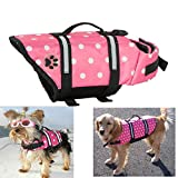 EXPAWLORER Pink Dots Small Designer Dog Life Jacket with Paw Pet Saver Vest Coat Flotation Float Aid Buoyancy