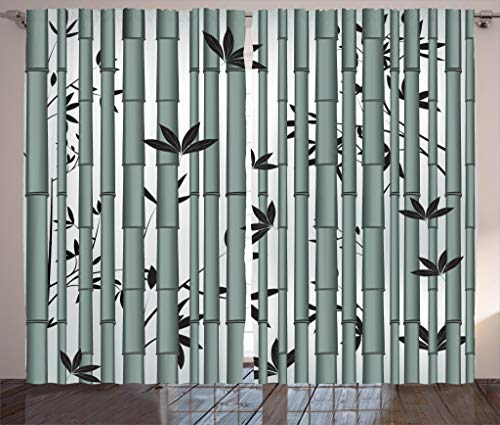 Ambesonne Nature Curtains, Asian Tree Flower Wildlife Panda Food Bamboo with Leaf and Branches Print, Living Room Bedroom Window Drapes 2 Panel Set, 108W X 63L Inches, Bluegrey and Dimgrey