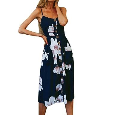 OHQ Robe à Bretelles De Poche Bouton Imprimé pour Femmes Bleu Impression  Boutons Hors éPaule sans 8b6d02ad2b4
