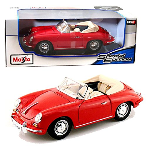 Maisto Year 2014 Special Edition Series 1:18 Scale Die Cast Car Set - Red Color Roadster 1961 PORSCHE 356B CABRIOLET with Display Base (Car Dimension: 9