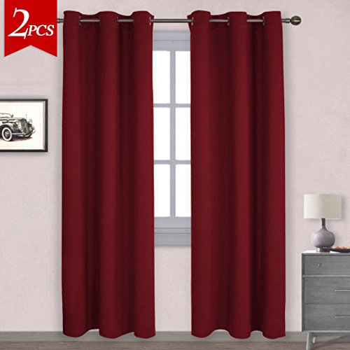 NICETOWN Home Decorations Thermal Insulated Solid Grommet Top Blackout Living  Room Curtains / Drapes For Winter (One Pair,42 X 84 Inch,Red)