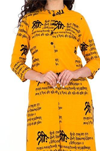 BrightJet Printed Yellow Wooden Button Cotton Women Fashion FrontSlit Kurti Straight fit Kurta Top Tunic Party Dress (XL) by BrightJet (Image #3)