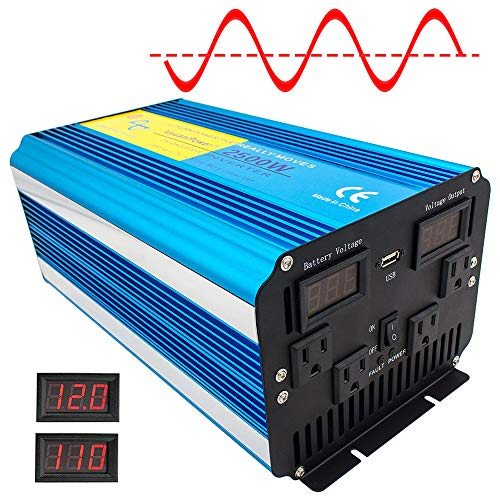 Cantonape Pure Sine Wave Power Inverter 2500W/5000W(Surge) Power DC 12V to 110V AC with LED Display ()