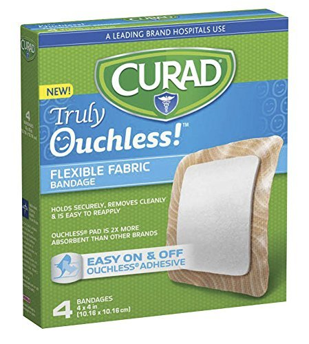 Curad Truly Ouchless Flexible Fabric Bandage 4 x 4 inch (10.16 x 10.16 cm)