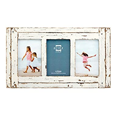 Prinz 3 Opening Homestead Wood Collage Frame, 4 x 6 , White