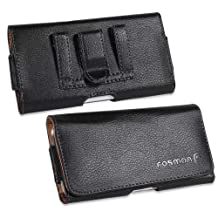 Fosmon Horizontal Pebbled Leather Pouch Case for Samsung Galaxy S4, Apple iPhone 6 / 2013 Moto X, Moto G (LTE), Moto E / Nokia Lumia 1020 / HTC ONE M7 / Galaxy S2 II / S3 III / Blackberry Z10 and Nokia Lumia 925 - (Black)