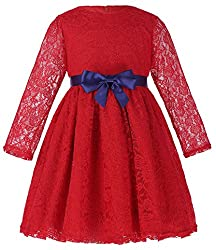 Girls Long Sleeve Kid Dresses Round Neck A-Line (7-8yrs) CL010402-1