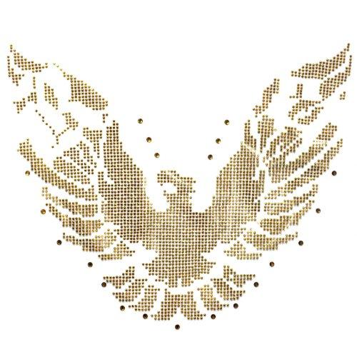 (Rhinestone Transfer Hot Fix T-shirt Clothing Crafts Cushion Gold Eagle Design 1 Sheet 5.7* 8.2 Inch)