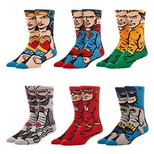 Bioworld DC Comics Justice League 6 Pack Character Crew Socks Gift Box - Justice League Boxes