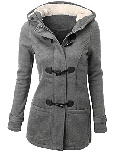 Knight Horse Wool-Bland Everyday Coat For Women Pea Coat With Hood Sweatshirt Jacket Grey Small