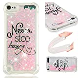 YWXTW Case for iPod Touch 6/5 Glitter Clear Bling Floating Flowing Liquid Sparkle Shockproof Soft TPU Cute Girly Luxury Quicksand Case Compatible with Apple iPod Touch 6/5th (Never Stop Dreaming)