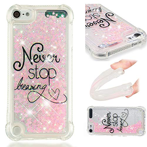 YWXTW Case for iPod Touch 6/5 Glitter Clear Bling Floating Flowing Liquid Sparkle Shockproof Soft TPU Cute Girly Luxury Quicksand Case Compatible with Apple iPod Touch 6/5th (Never Stop Dreaming) ()
