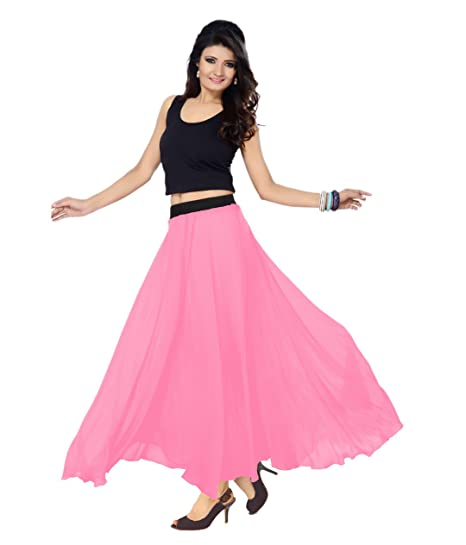Rajvila Georgette Fabric Party Wear Designer Long Skirt 36 Inch Length Baby  Pink Colour Size 2XS 786eec82992