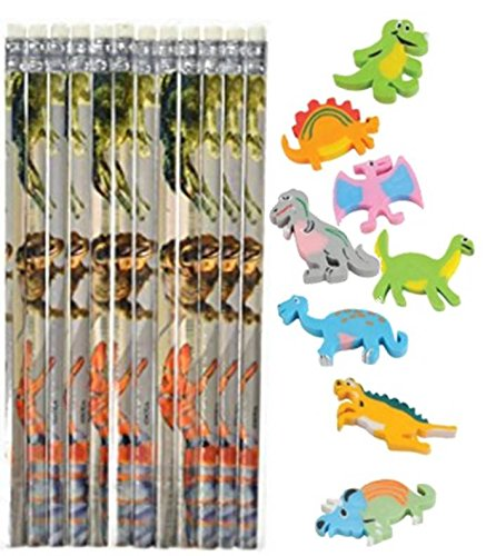 Nikki's Knick Knacks Dinosaur Themed Pencils and Erasers - 24 Count ()
