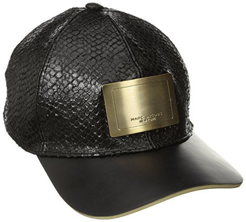 Marc Jacobs Men's Embossed Leather Hat with Gold Logo, Black, Medium