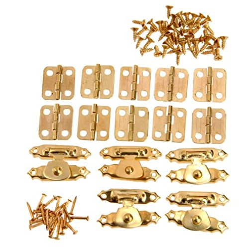 (5 Sets / 5 Pcs 26 x 15 mm Antique Gold Jewelry Wooden Box Case Toggle Hasp Latch + 10 Pcs Cabinet Hinges + Nails Iron Vintage Hardware Furniture Accessories)