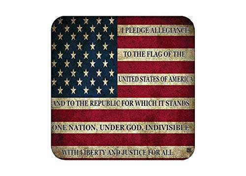 Patriotic USA Flag Drink Coaster Set Gift United States Pledge of Allegiance Bar Kitchen Home