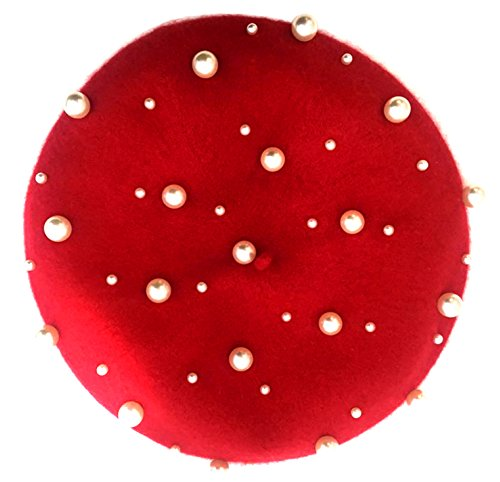 YCH Pearl Detailed Beret Hat For Women, Multiple Colors Available One Size Red by YCH
