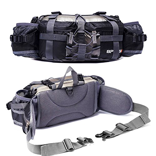 Outdoor Fanny Pack Hiking Camping Biking Waterproof Waist Pack 2 Water Bottle Holder Sports Bag for Women and Men Black