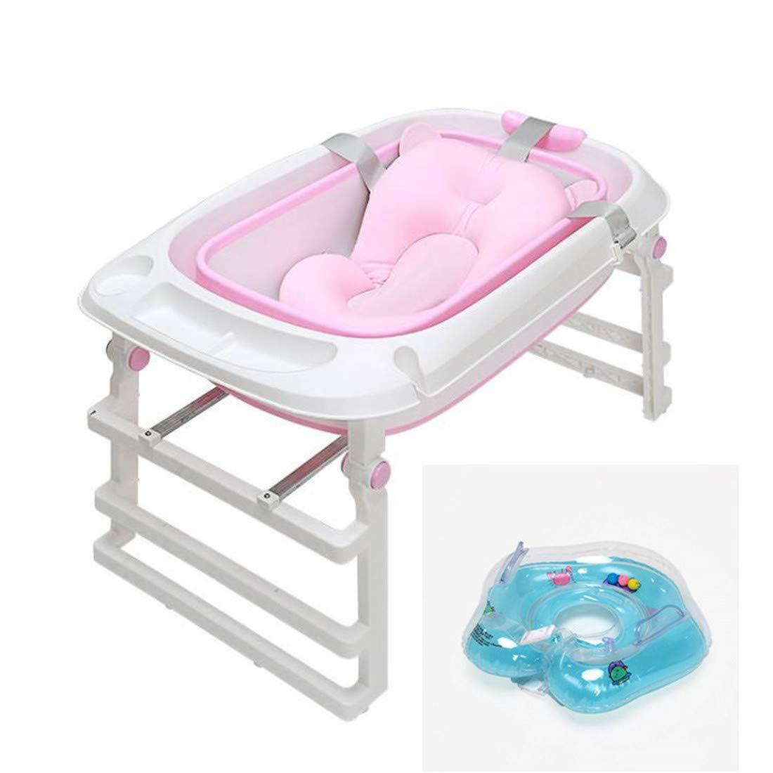 簡易浴槽 折畳み浴槽 バスタブプール 浴槽 お風呂の浴槽 子供用プール ベビーバス 赤ちゃん ベビーバスタブ 三段階+ベビー用 浮き輪+ベビーバスマット(85*45*51cm)1-16歳  pink B07SFHB98L