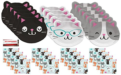Supplies Bundle Pack for 16 guests (Plus Party Planning Checklist by Mikes Super Store) (Purr Fect Party Beverage Napkins)