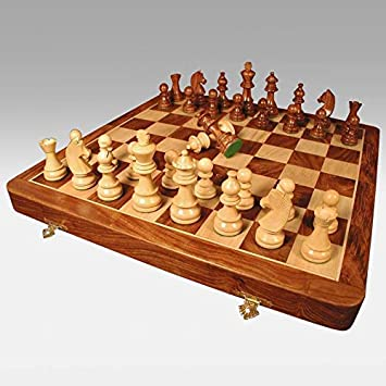 AK Handicraft Wooden Non-Magnetic Chess Game Board Set, 16 X 16