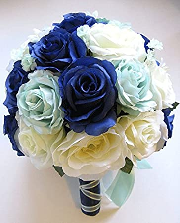 Amazon.com: Wedding Bouquet Bridal Silk flower 17 pieces Package ...