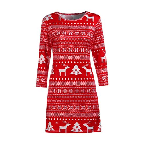 eZEO Women Mini Dress Xmas Autumn Winter Christmas Deer Printed Floral (Red, M)