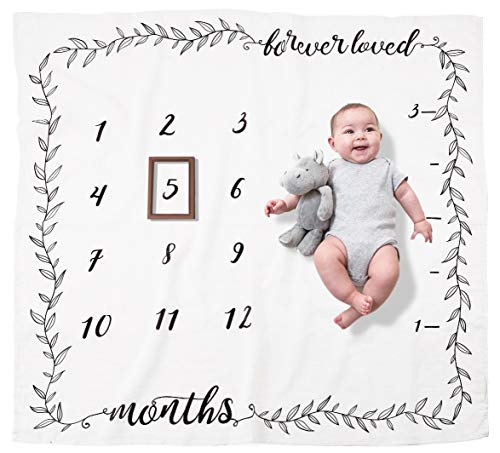 Organic Baby Monthly Milestone Blanket (Forever Loved) by Pondering Pine | Girl or Boy Photography Background Prop | Newborn to 12 Months | Baby Shower Gift