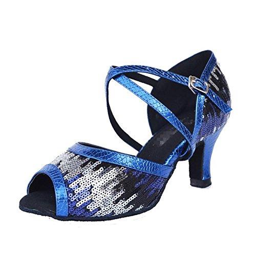 Byjia Frauen Tanzschuhe Salsa Latin Sandalen Tango Ballsaal Sandalen Latin Leder Wildleder Soft Soles Gürtelschnalle High Heel Sequins Flash Blau 3d8f1b