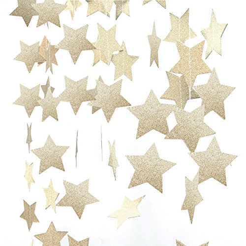 Star Garland-Star Garland Decorations-Glod/Silver Paper Star Banner Hanggings for Wedding Birthday Party, Baby Shower, Event & Party Supplies (4, Gold)