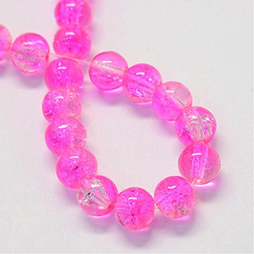UnCommon Artistry Czech Crackle Glass Druk Round Beads (6mm, Hot - Czech Druk Glass Beads 6mm