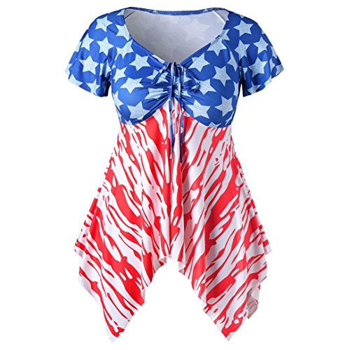 Nikuya Women Short Sleeve Blouse Pullover Tops Plus Size Flag Print Bandage Shirt (XXL, Blue) ()