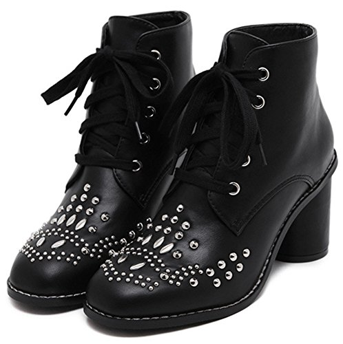 Easemax Women's Trendy Studded Mid Block Heel Round Toe Lace Up Short Ankle Booties Black xeBBn